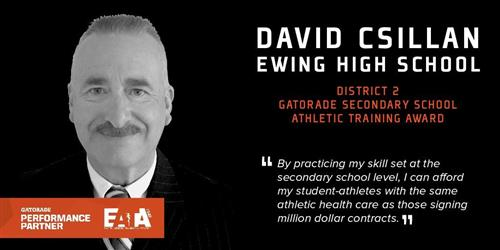 IMMEDIATE RELEASE:  Ewing Schools Athletic Trainer Receives Gatorade National Secondary School Athletic Trainer Award