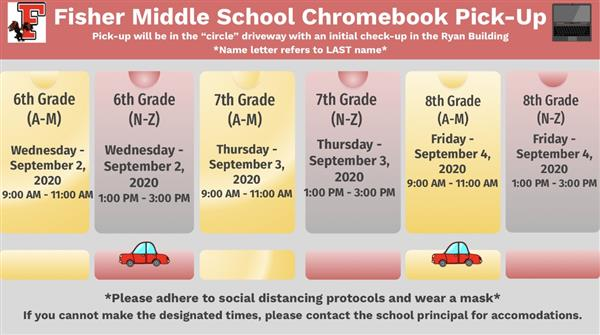 Fisher Middle School Chromebook Pick-up Information