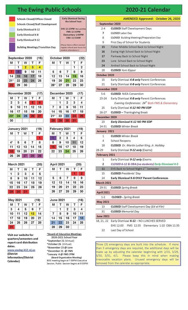 Board Approved Amended Ewing Public Schools 2020-21 District School Calendar - November 3, 2020 (Election Day) VIRTUAL LEARNING DAY for ALL STUDENTS!