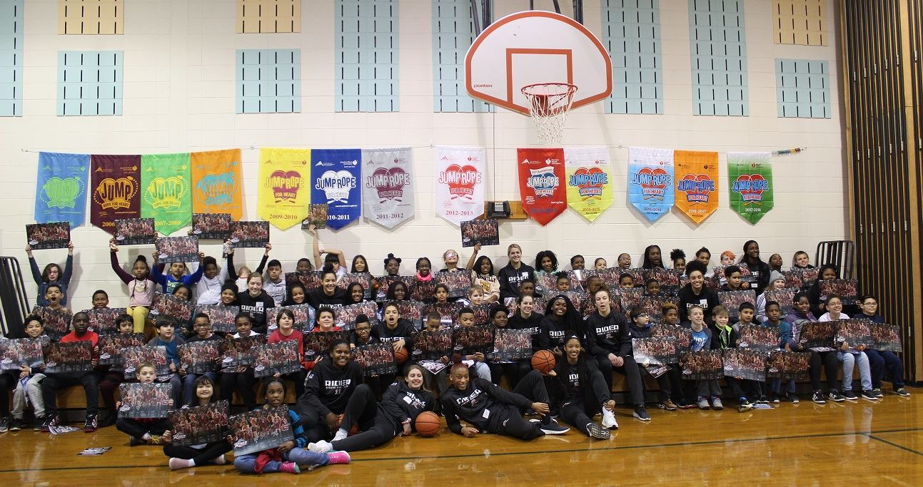 Rider Women's Basketball Team Visits 5th Grade Students at Parkway School