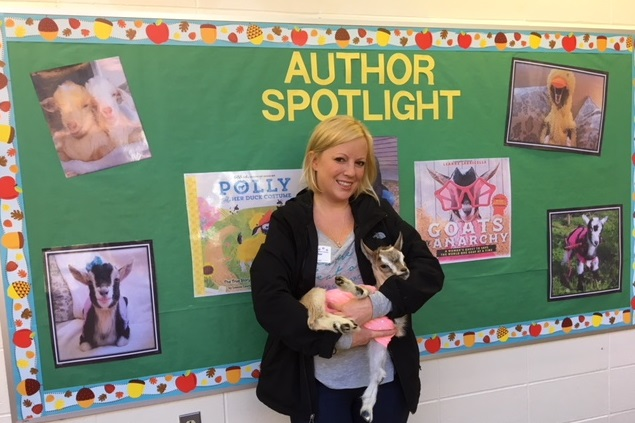 Author Leanne Lauricella and her Goat, Butterfly, Visit Parkway School