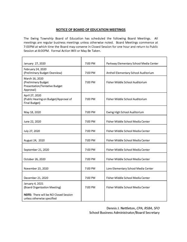 2020 Board of Education Meeting Dates