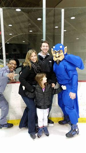 Blue Devil at 2018 ice skating party